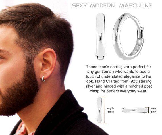Mens Earrings Hoop Real Sterling Silver Etsy Men Earrings Mens Earrings Hoop Mens Silver Hoop Earrings