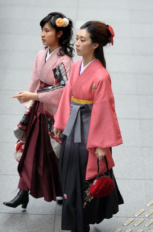 School graduation ceremony, Tokyo, Japan. Hakama skirt over kimono.