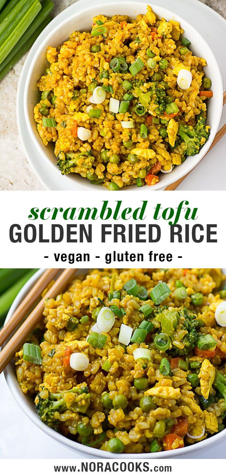 Golden Fried Rice Vegan Fried Rice With Scrambled Tofu And Lots Of Fresh Veggies Health Easy Vegan Dinner Vegan Pasta Recipes Vegan Dinner Recipes