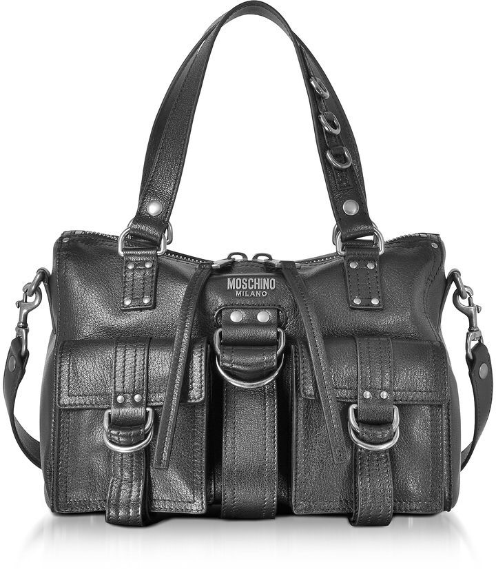 Moschino Black Leather Satchel Bag w/Shoulder Strap
