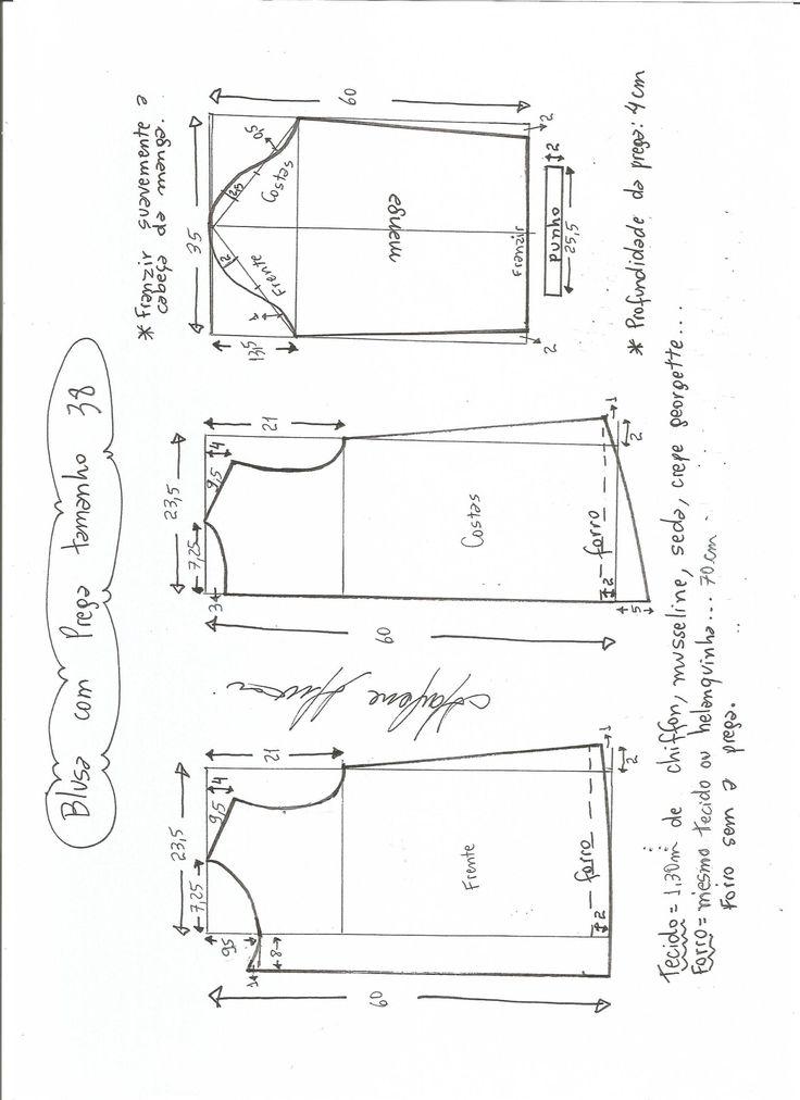 Esquema de modelagem de blusa com prega e manga tamanho 38.