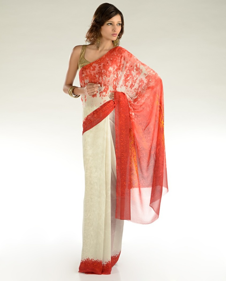 Ivory Sari with Coral Red Abstract Prints  by Satya Paul