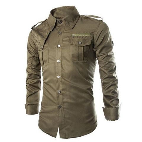Fashion Uniform Style Shirt Collar Fitted Epaulet and Zipper Design Long Sleeve Polyester Shirt For Men Important Note: Asian Sizes. See Size Conversion Chart before ordering! Shirts Type Casual Shirt