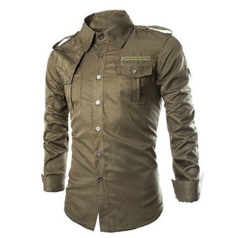 Uniform Style Long Sleeve Men's Shirt with Zipper Design