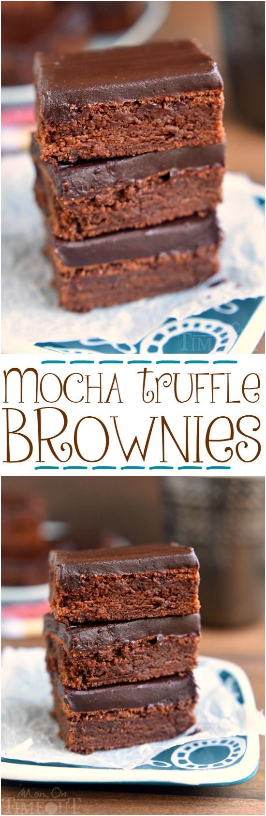 These decadent Mocha Truffle Brownies are just what your sweet tooth is craving. Rich mocha brownies are topped with a decadent chocolate ganache frosting and baked to perfection. All you need is a cold glass of milk! | MomOnTimeout.com | #chocolate #brownie #mocha #dessert