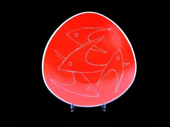 Narancs halas tál - 01  orcelán, máz feletti festéssel   Készült: 1960-as évek eleje  Mérete: 24 x 23 cm  Zsolnay gyár, pajzspecsét  http://innogaleria.hu/termekek/keramia/torok_janos/narancs_halas_tal.html