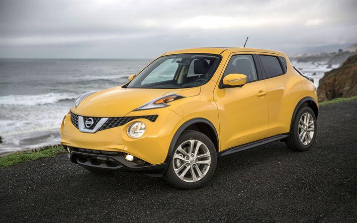 Descargar fondos de pantalla Nissan Juke, 4k, 2017 autos, crossovers, amarillo Juke, los coches japoneses, Nissan