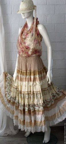 Купить Нежная, кремовая ,многоярусная, длинная юбка в стиле бохо - бежевый, однотонный, бозо, индивидуальность