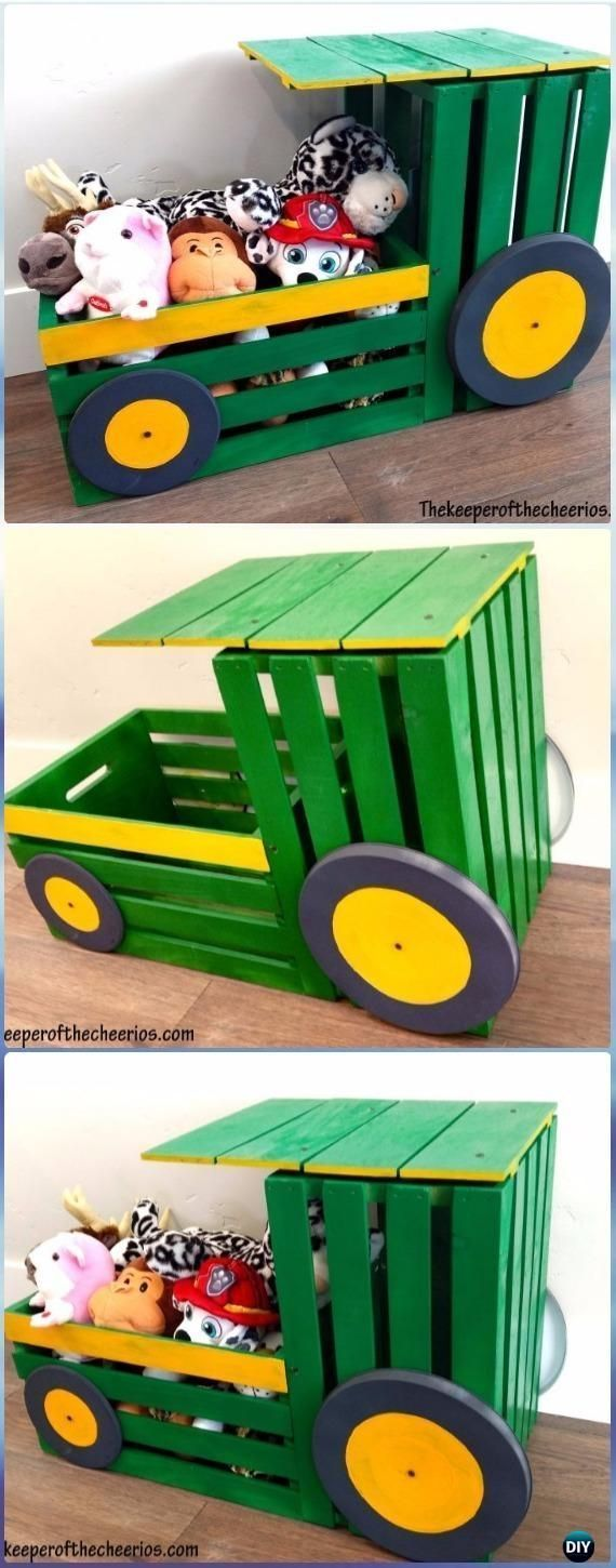 DIY Wood Crate Tractor Toy Box Instructions - DIY Wood Crate Furniture Ideas Projects #ad