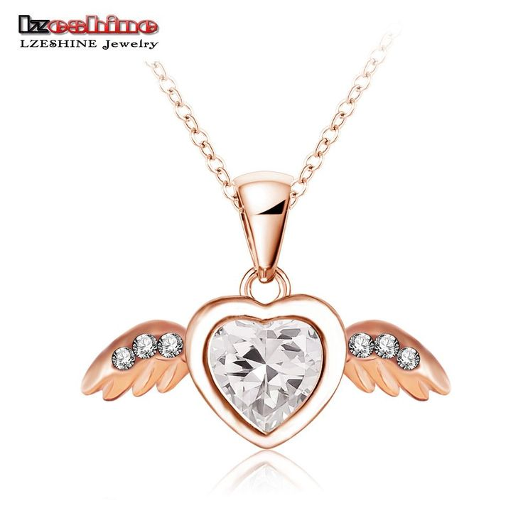 New Angel Heart Wings Necklace Real 18K Rose Gold Plated Pendant Necklaces Inlay Genuine SWA Element Austrian Crystal NL0262-A