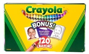 Crayola 120ct Original Crayons I never imagined there would be 120 but there actually is. Some colors included are burnt sienna, olive green, thistle, tickle me pink, and laser lemon. It contains durable dump bin storage box.  http://awsomegadgetsandtoysforgirlsandboys.com/creative-easter-basket-ideas/ Crayola 120ct Original Crayons