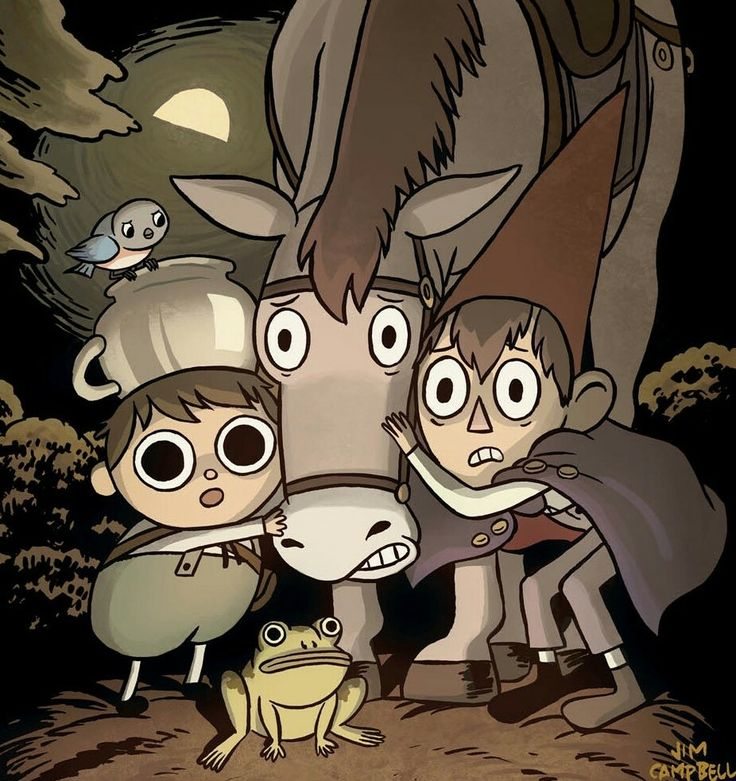 "Over the Garden Wall by Jim Campbell Cover << Here's the art I did for the cover of issue 2 of the over the garden wall comic. It looks like you buy it online now (maybe that's a pre-order.. I don't think it's in stores yet..) Each issue is a separate story that takes place between episodes. This one is the ""tale of Fred the Horse"", as told by Fred after they ""steal"" him from the old tavern. http://www.boom-studios.com/over-the-garden-wall-02-jim-campbell-cover.html"