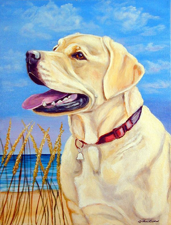 Yellow Labrador at the beach Flag Canvas House Size