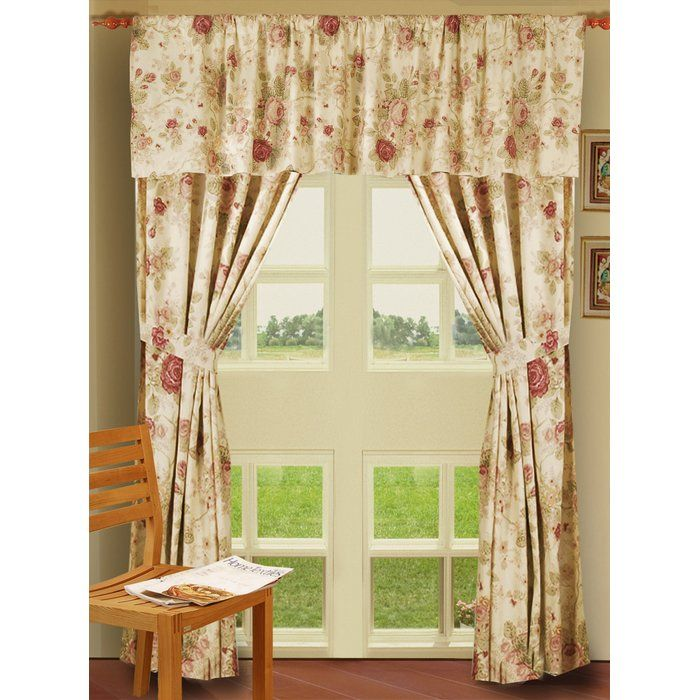 Abbigail Nature Floral Sheer Rod Pocket Curtain Panels Rose