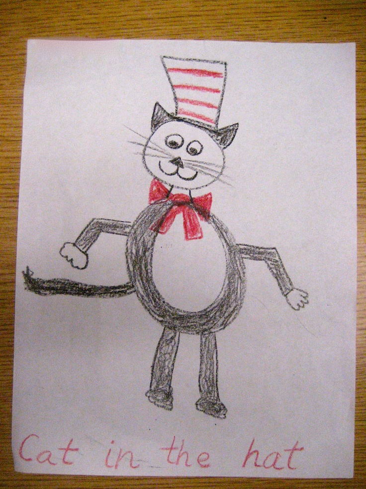 It's just a graphic of Shocking Cat In The Hat Directed Drawing