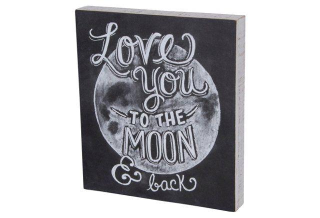 Moon & Back Chalk Sign
