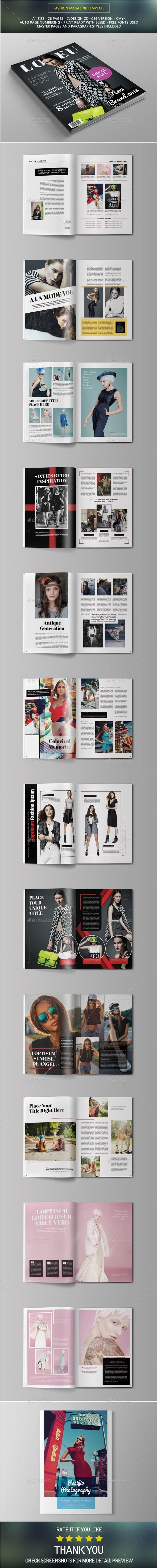 Fashion Magazine Template | #magazinetemplate | Download: http://graphicriver.net/item/fashion-magazine/10426455?ref=ksioks