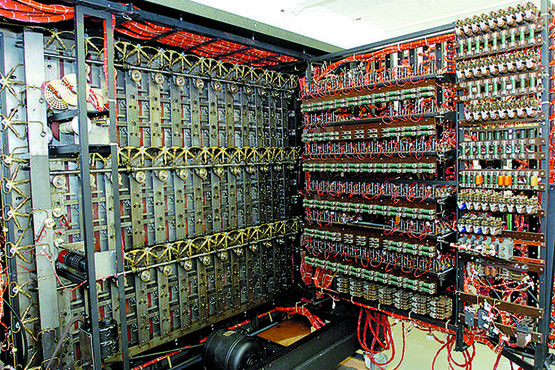 Inside the rebuilt BOMBE code breaking machine showing the rear of the letter reels resistors and wiring