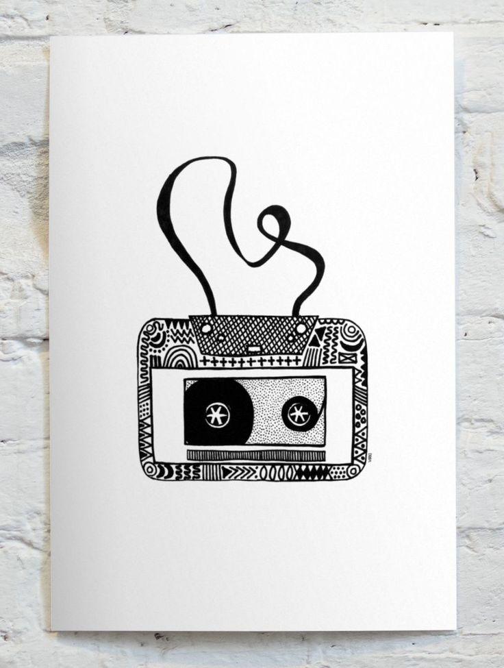 CASSETTE. Art Print (A4) by Vira Kiktso via VIRKI SHOP. Click on the image to see more! #virkiillustration #cassette #music #musik #retro #retrobyvirki #illustration