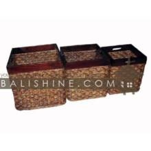 Balishine: Your natural source of indonesian handicraft presents in its Home Decor collection the Basket Set Of 3:12JAS362745:This set of 3 squares baskets is produced in Indonesia made from seagrass and wood.  Antik brown color