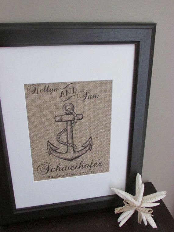 Burlap Nautical Family Print w/Frame, Burlap Wedding Anchor Print, Burlap Family Established Print, Burlap Wall Art, Wedding Gift Idea