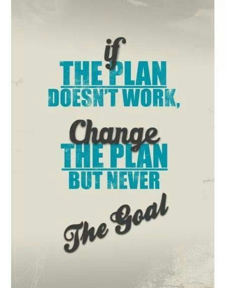 change the plan never the goal