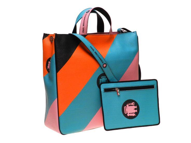 Borsa da giorno a maxi righe realizzata in pelle sintetica nei colori arancione, verde acqua e rosa dotata di borsello estraibile.