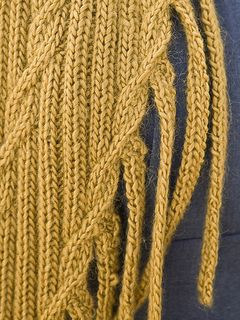 Skinny knit phalanges grow from a ribbed scarf, while a simple cable transverses the expanse.