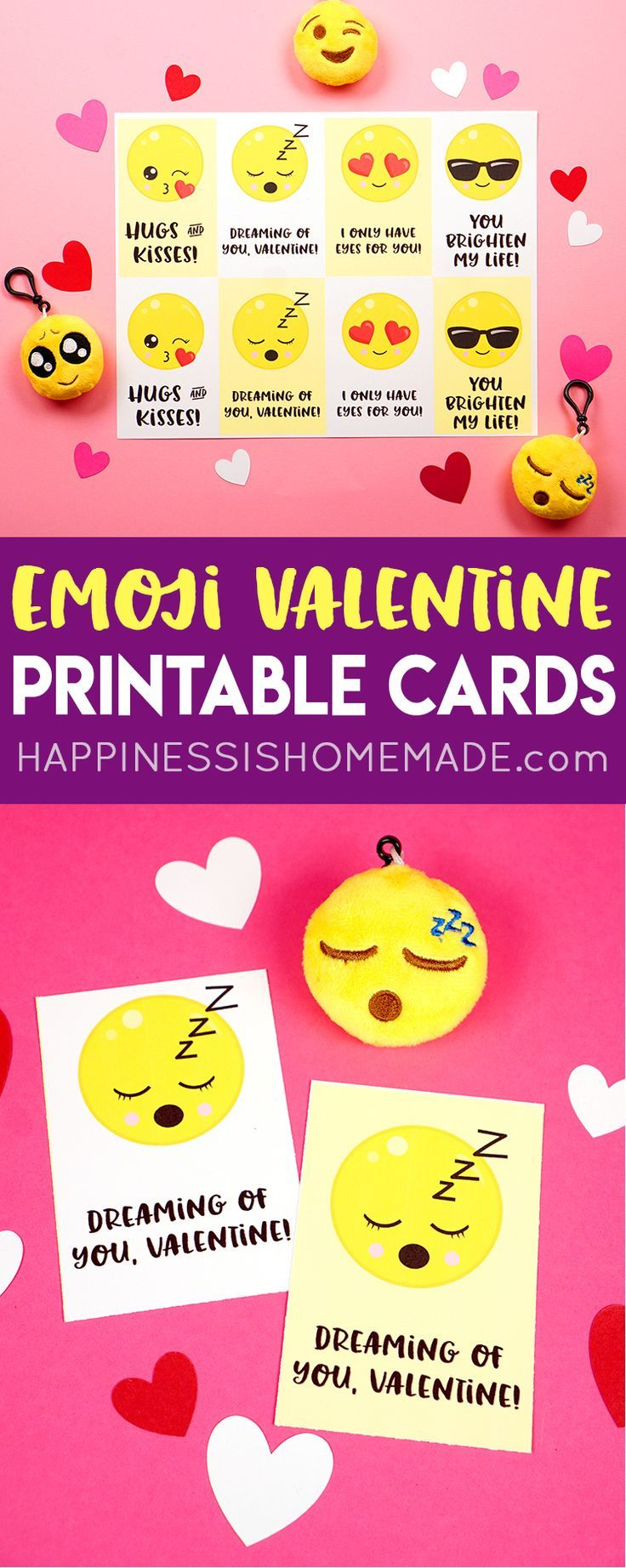 Emoji Valentine Cards - Cute Printable Emoji Valentine's Day Cards are tons of funs for kids! Pair them with an inexpensive emoji novelty toy for a super special Valentine's Day treat for friends and classmates!
