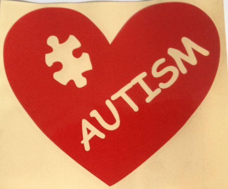 Red+Autism+Heart+bumper/window+sticker+-+Brad's+Little+Aussie+Autism+Shop