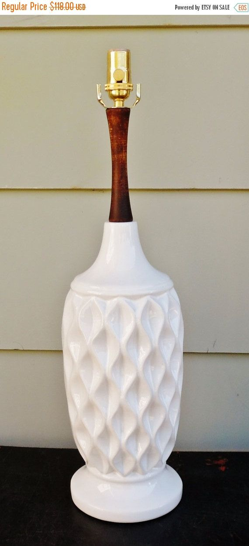 vintage danish modern white ceramic table lamp mid century modern wood brass lamp. Black Bedroom Furniture Sets. Home Design Ideas