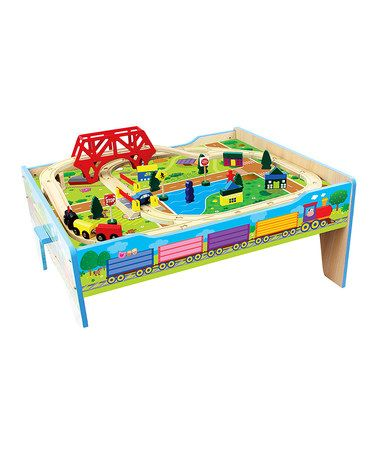 Look what I found on #zulily! Wood Farm Train Table #zulilyfinds
