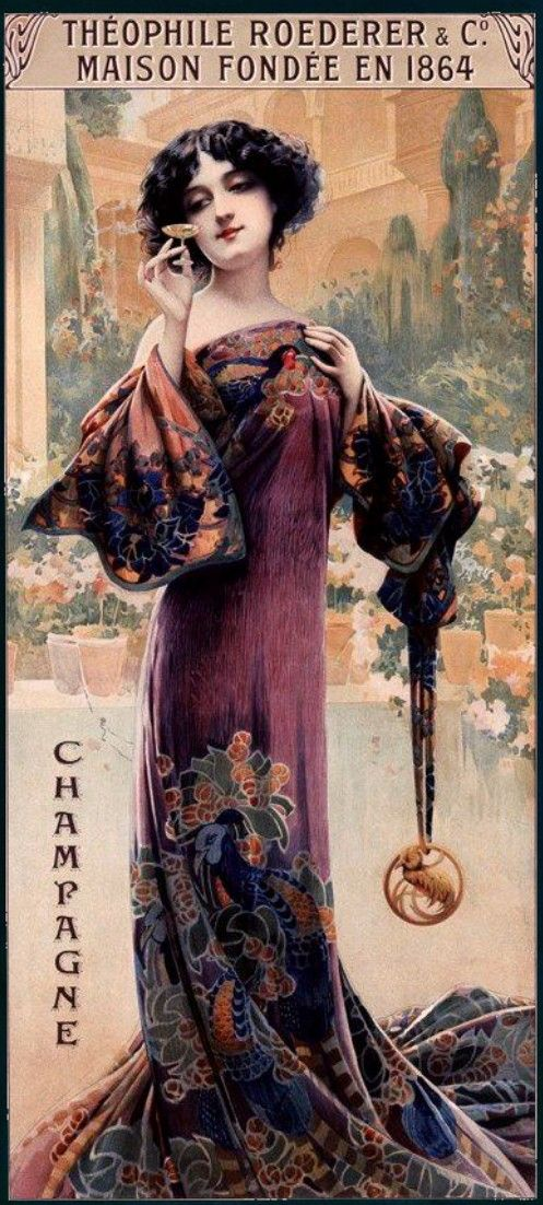 """""""Champagne Roederer"""" by Louis Théophile Hingre ~ Born November 19, 1932 predating Mucha by 28yrs who was born July 24, 1860. Most of his work was done while Mucha was still an infant which makes him the true father of Art Nouveau (even though Mucha popularized it). ~ Click through the large version for a full-screen view (with a black background in Firefox). Set your computer for full-screen. ~ Miks' Pics """"Alphonse Mucha"""" board @ http://www.pinterest.com/msmgish/alphonse-mucha/"""