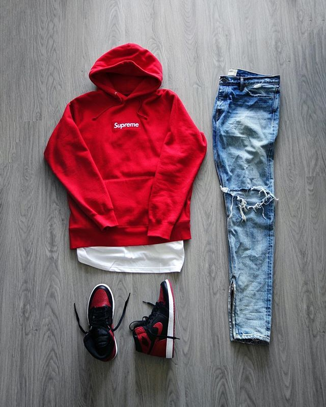 Outfit grid - Red hoodie & jeans