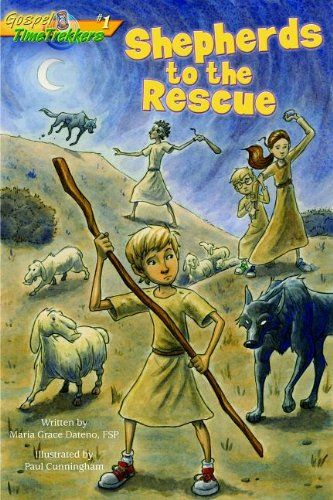 Book series recommendation for kids (ages 6-9) from Conversion Diary Shepherds to the Rescue (Gospel Time Trekkers) by Maria Grace Dateno