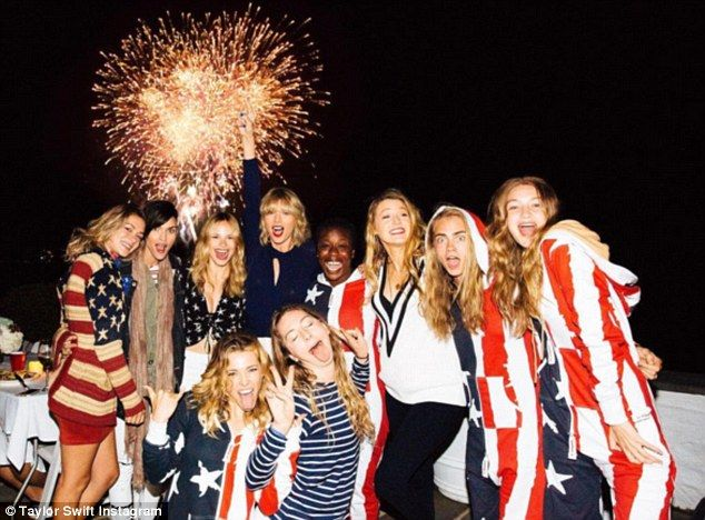 Red, white, and blue! Taylor Swift and her girlfriends Ruby Rose, Uzo Aduba, Blake Lively, Cara Delevingne, Gigi Hadid, Este Haim, and several others, capped off the end of a very star-studded Independence Day weekend with a spectacular fireworks show
