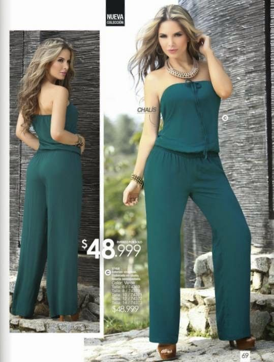 Enterizo strapless color verde. Carmel C-5 2015. Moda juvenil