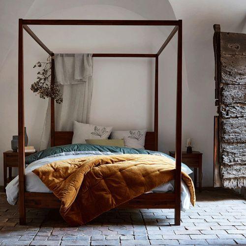 Lit 2 Places Avec Baldaquins En Acacia Massif 160x200 Cm Alinea En 2020 Idee Deco Chambre Lit Baldaquin Et Baldaquin