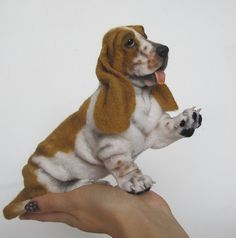 Felted Basset hound named Ru miniature dog by FeltToysInna