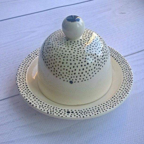 Ceramic butter or lemon or garlic or...dish  handmade #handpainted # pottery #points #