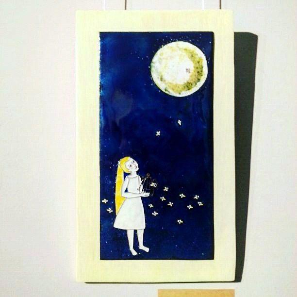 "art, hot enamel , Cu. ""A place where fireflies live"" 36х21, 2017"