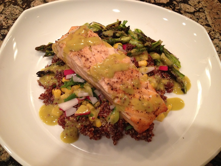 Cedar Salmon with a roasted corn and asparagus red quinoa salad ...