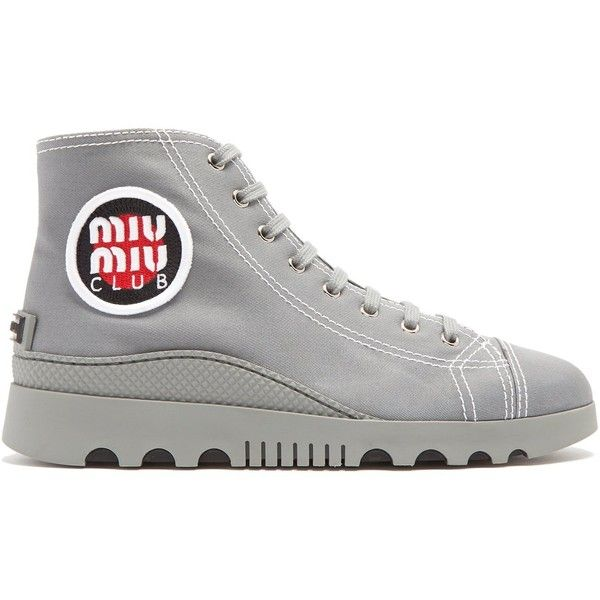 Miu Miu High-top canvas trainers (€475) ❤ liked on Polyvore featuring shoes, sneakers, dark grey, retro high top sneakers, canvas shoes, miu miu sneakers, retro sneakers and high top canvas sneakers
