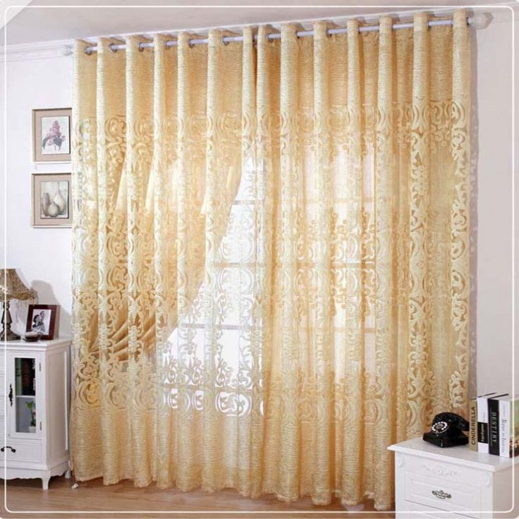 Modern European-Style Carved Beige Sheer Curtain