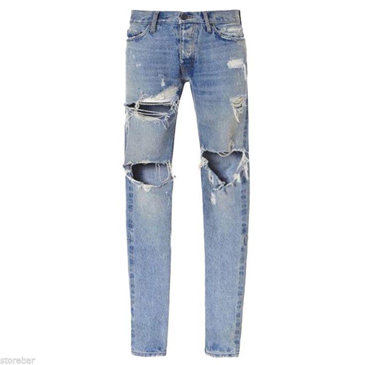 Designer Men's Skinny Biker Straight Denim Pants Destroyed Ripped Jeans Trousers | eBay