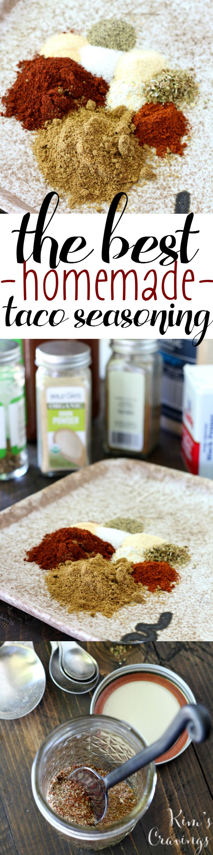 The BEST Homemade Taco Seasoning- free of MSG, additives and loads of sodium. It's also 100% natural, super easy and full of flavor!