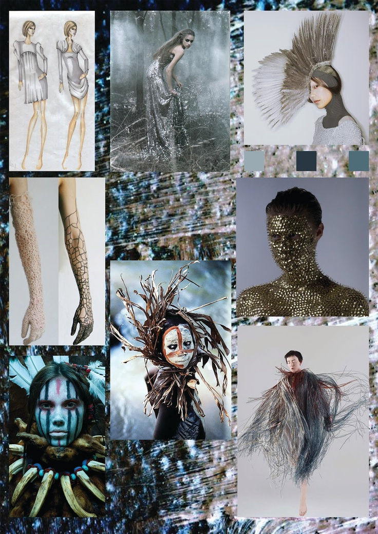 Fashion Moodboard - fashion design concept board; atmosphere & mood, colour, texture, pattern