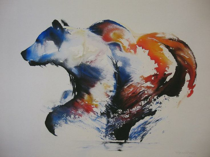 70 best Bear drawing, painting images on Pinterest ... Watercolor Bear Tattoo