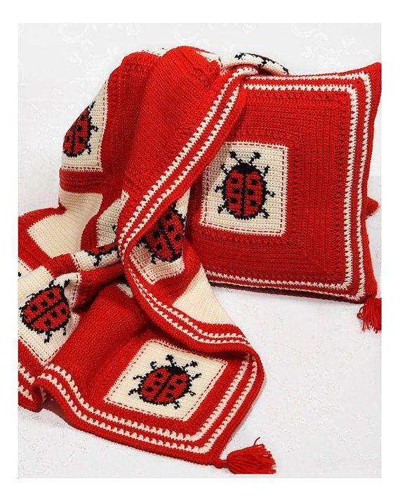 Crochet baby blanket Animal baby blanket bedding Ladybug baby