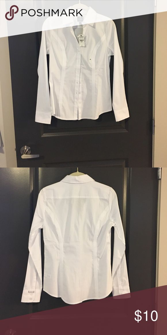 "NWT Express white button down Express ""The Essential Shirt"" - never worn, new with tags!  Great must have white button down, great for those ladies that have issues with ""gapping."" Express Tops Button Down Shirts"